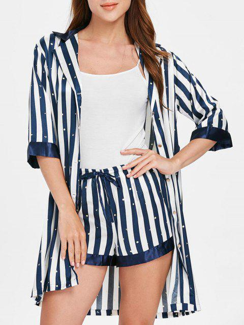 Notched Collar Vertical Stripe Pajamas - CADETBLUE XL