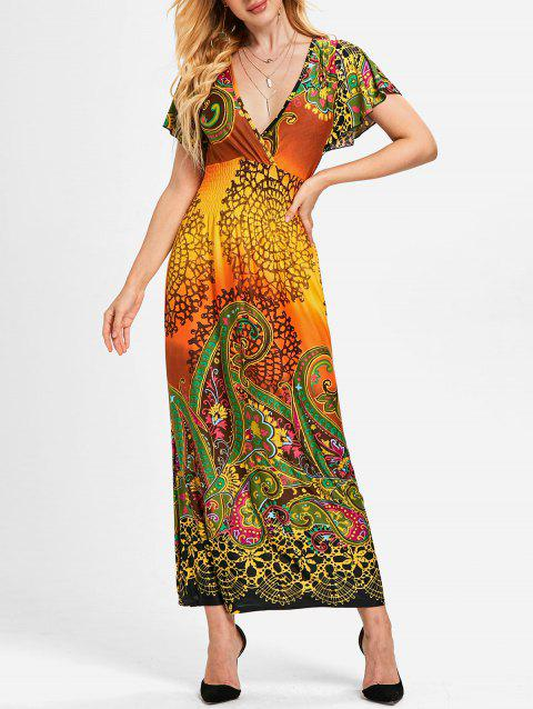 Plunge Tribal Print Empire Waist Maxi Dress - multicolor A M