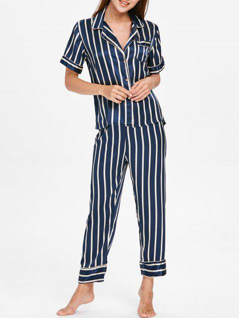 Striped Print Pajamas Suit - CADETBLUE M