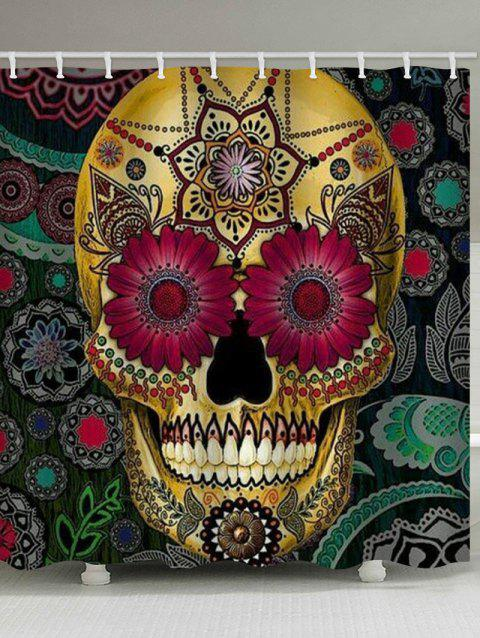Skull Mandala Print Waterproof Shower Curtain - multicolor W65 INCH * L71 INCH