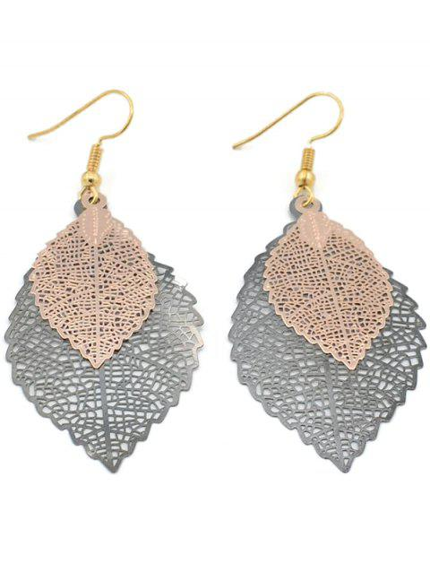 Stylish Hollow Out Leaf Drop Earrings - ROSE GOLD