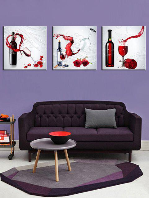 3Pcs Red Wine Flower Print Split Canvas Wall Art - multicolor 3PC:12*12 INCH( NO FRAME )