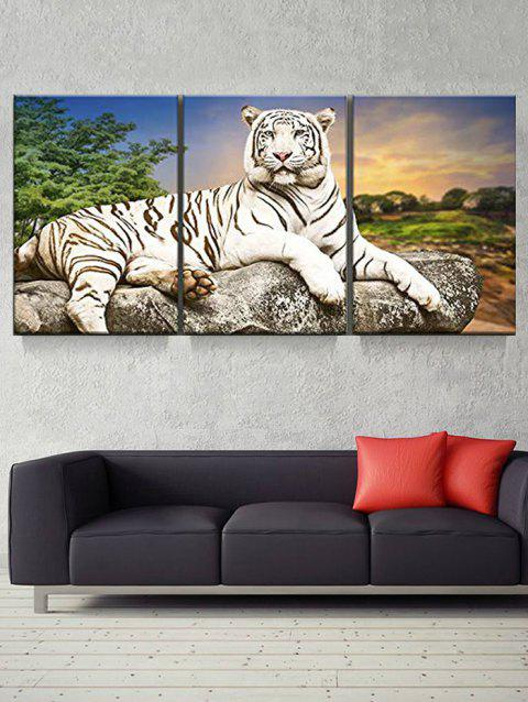 Sunset White Tiger Print Split Canvas Paintings - multicolor 3PC:16*24INCH(NO FRAME)