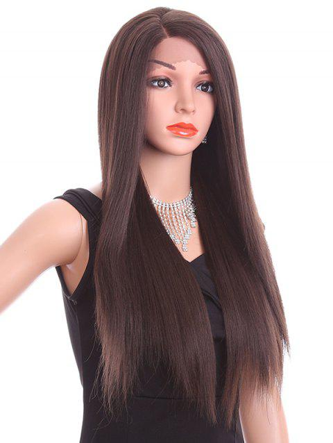 Side Parting Long Straight Party Synthetic Lace Front Wig - NATURAL BLACK 26INCH