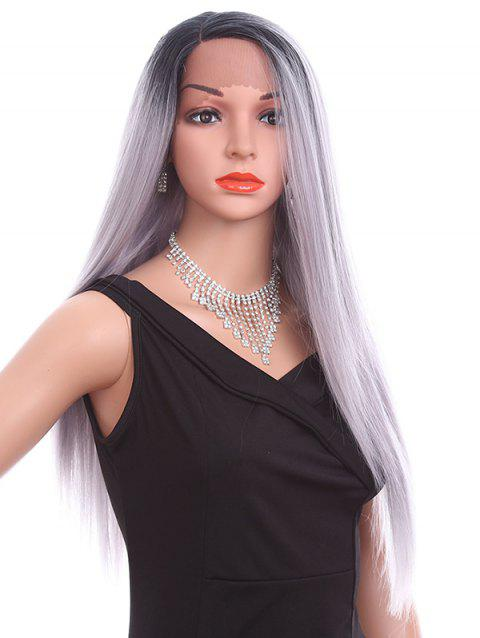 Side Parting Long Straight Party Synthetic Lace Front Wig - LIGHT GRAY 26INCH