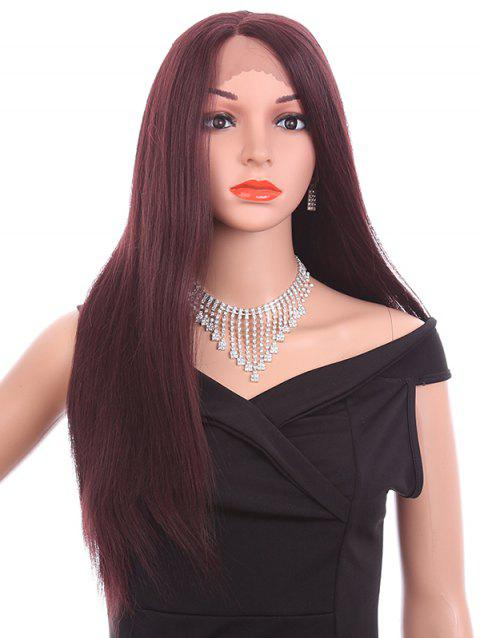 Side Parting Long Straight Party Synthetic Lace Front Wig - BLOOD RED 26INCH