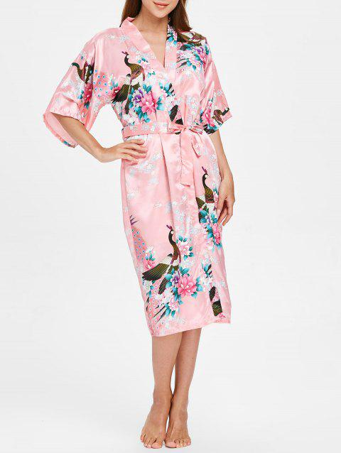 Flower Printing Sleeping Robe with Belt - LIGHT PINK S