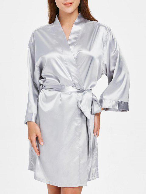 Long Sleeve Tied Belt Sleeping Robe - PLATINUM ONE SIZE