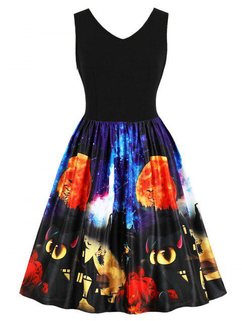 Halloween Retro Fit and Flare Dress - BLACK L