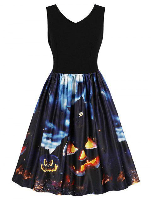 Retro Halloween Printed Pin Up Dress - BLACK M