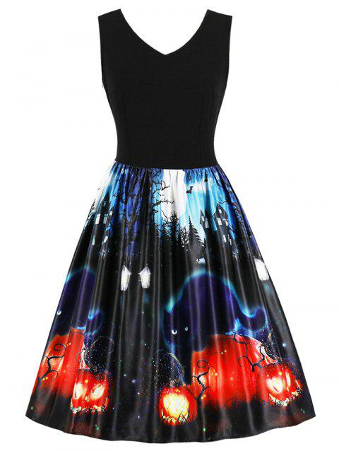 Halloween Retro Pin Up Dress - BLACK XL