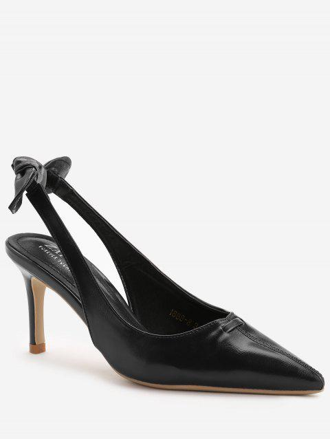 Chic Bowknot Pointed Toe Slingback Pumps - BLACK 38