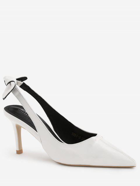 Chic Bowknot Pointed Toe Slingback Pumps - WHITE 36