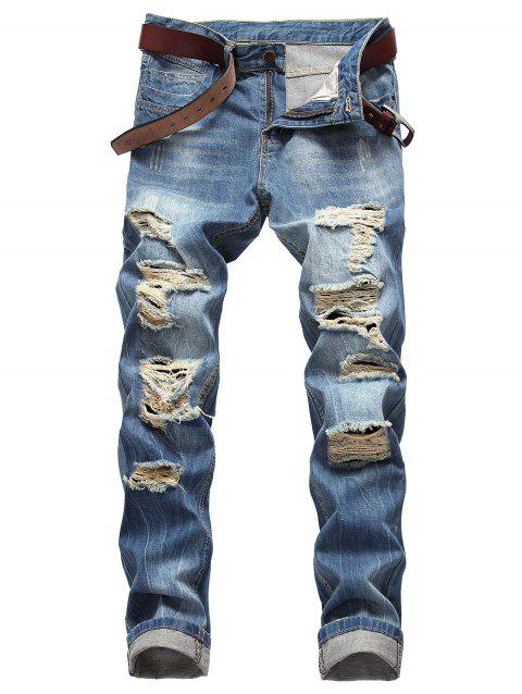 Casual Zipper Fly Ripped Straight Jeans - WINDOWS BLUE 40