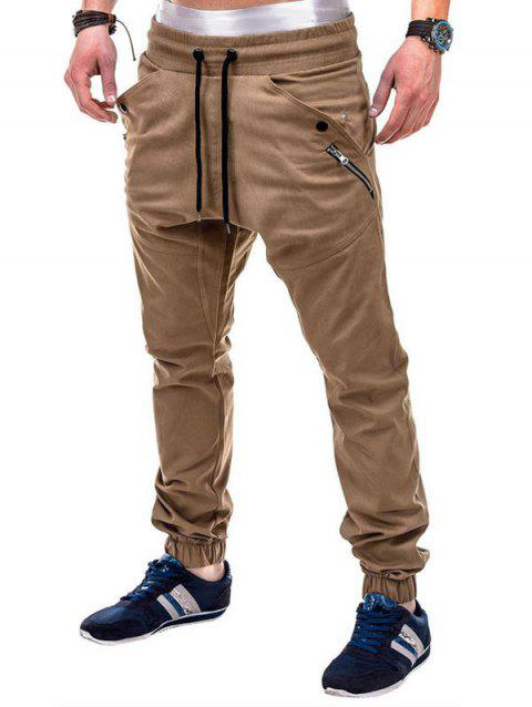 Multi Pocket Waistband Drawsting Casual Jogger Pants - LIGHT KHAKI XS