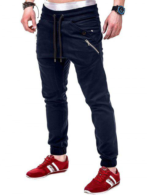 Multi Pocket Waistband Drawsting Casual Jogger Pants - CADETBLUE XS