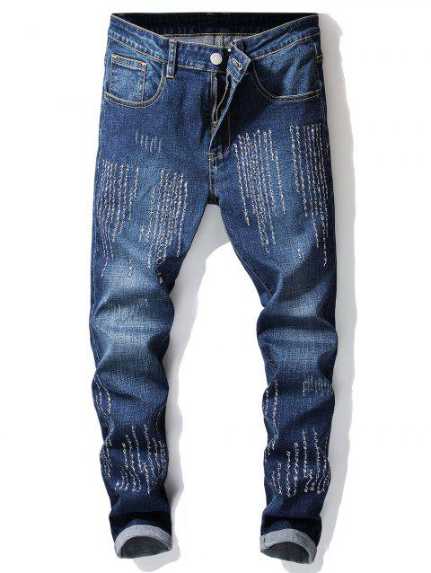 Embroidery Letters Men Head Skinny Jeans - DENIM DARK BLUE 34