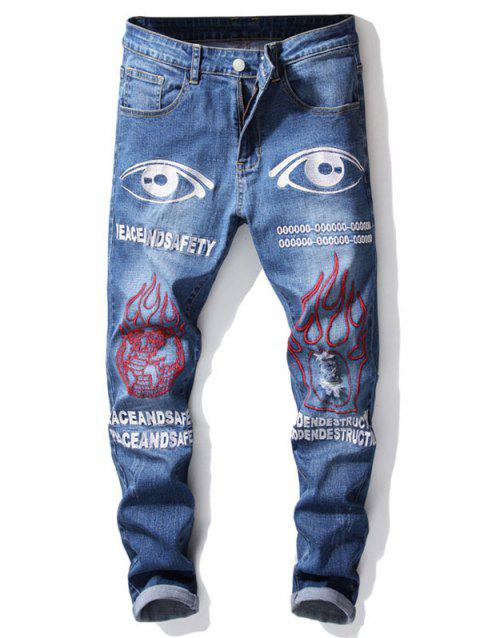 Ripped Earth Eye Letters Embroidery Jeans - ROYAL BLUE 34