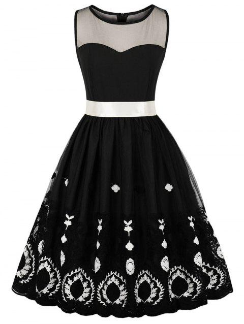 Mesh Insert Embroidered Fit and Flare Dress - BLACK L