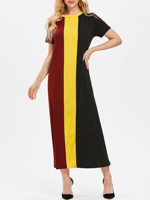 Color Block Maxi T-shirt Dress - multicolor S
