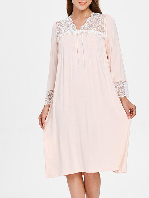 Lace Home Night Dress - PINK BUBBLEGUM ONE SIZE