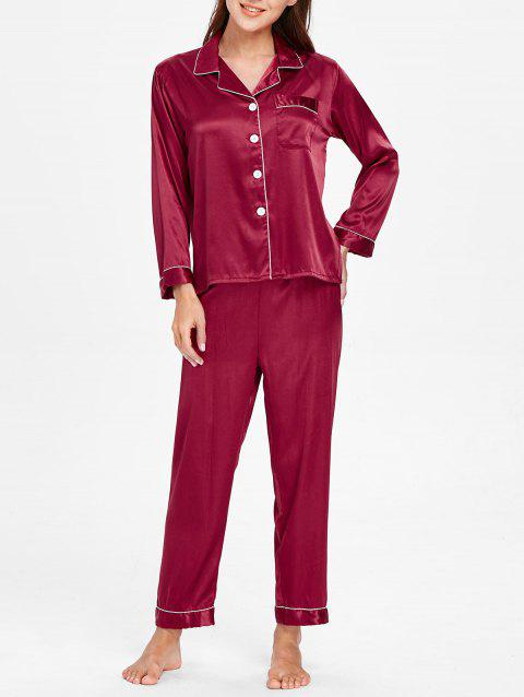 Pocket Satin Nightgown Suit - RED WINE M