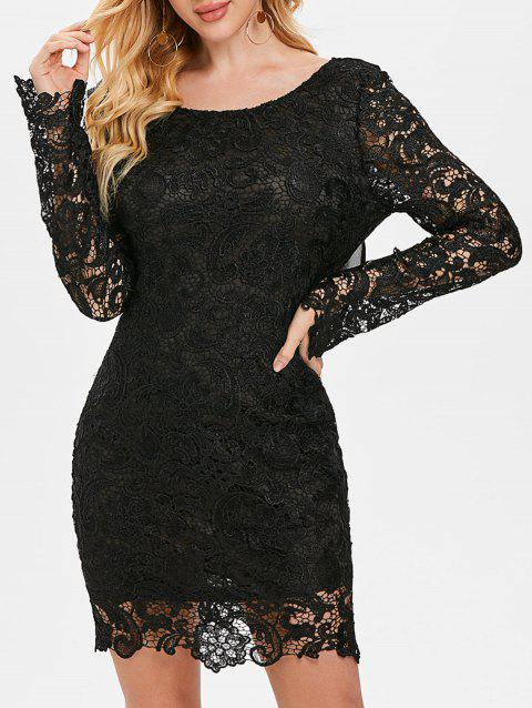 Long Sleeve Chiffon Insert Backless Lace Dress - BLACK 2XL