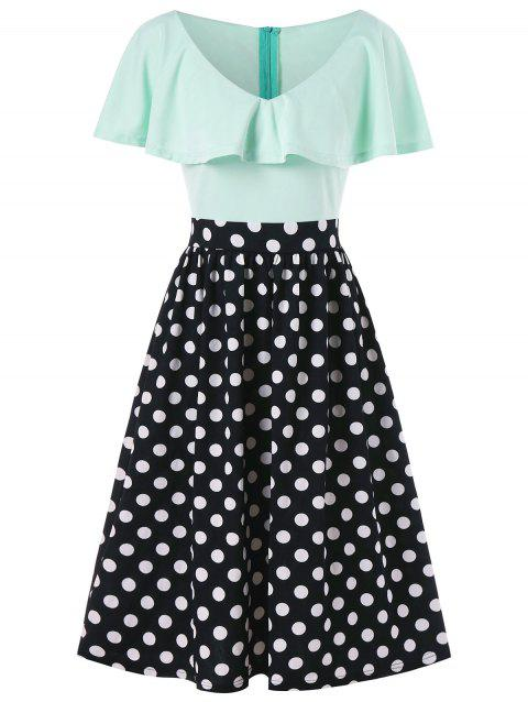 Polka Dot Print Flounce Dress - BLACK L