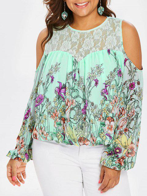 Plus Size Lace Trim Print Sheer Blouse - AQUAMARINE L