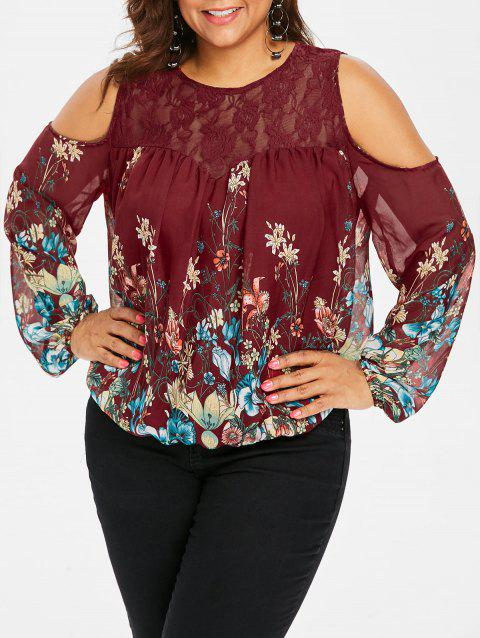 Plus Size Lace Trim Print Sheer Blouse - RED WINE 3X