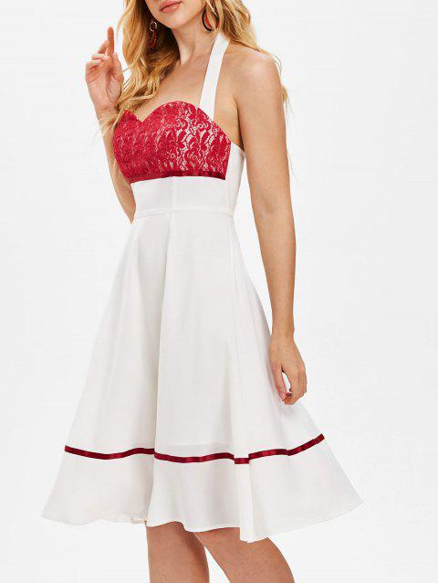 Halterneck Lace Panel Fit and Flare Dress - WHITE L