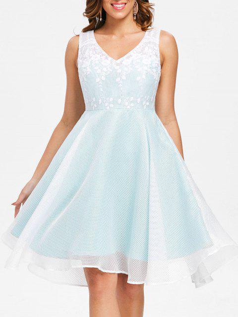 Sleeveless Latticed Mesh Overlay Dress - PALE BLUE LILY 2XL
