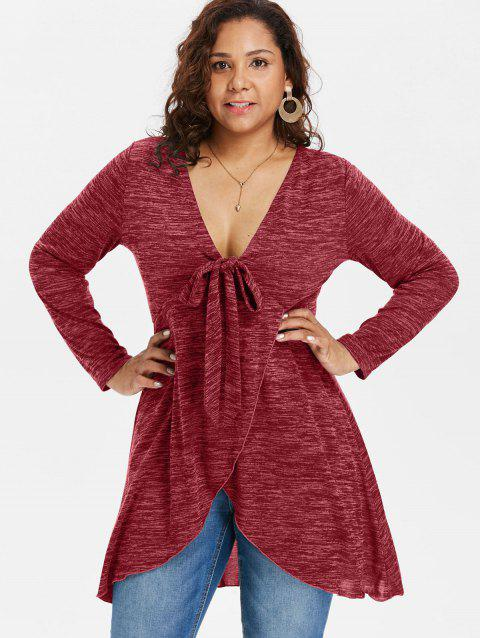 69% OFF] 2019 Plus Size Deep V Neck Long Sleeve T-shirt In RED WINE ...
