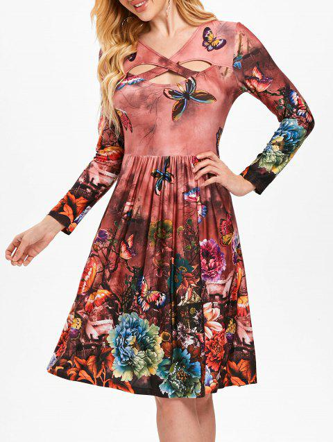 Cut Out Floral Print Flare Dress