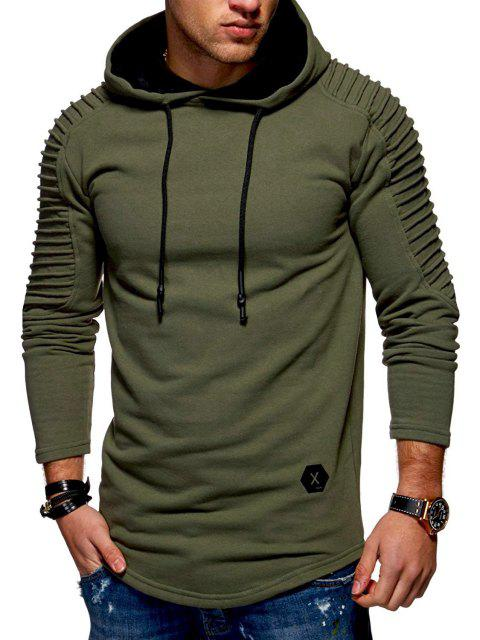 Solid Color Pleated Sleeve Long Fleece Hoodie - ARMY GREEN M