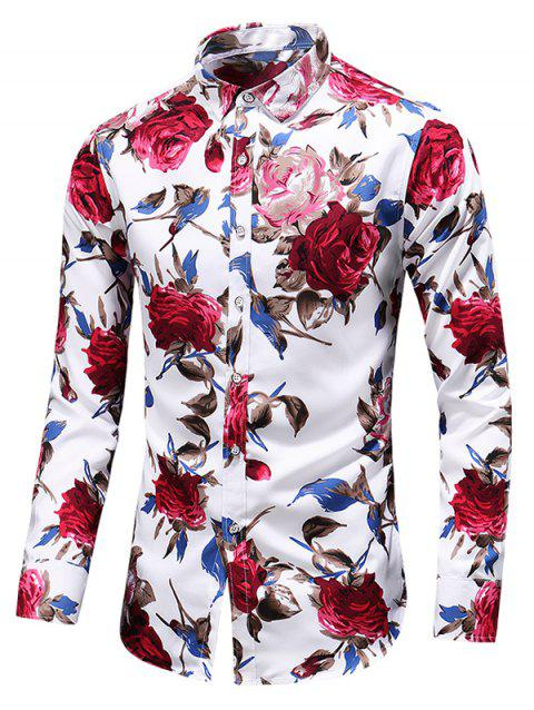 Casual Rose Print Button Up Shirt - WHITE 2XL