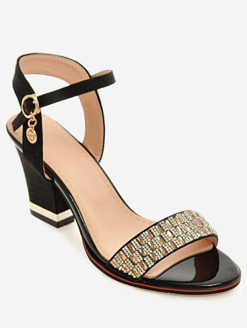 Plus Size Chunky Heel Crystals Prom Sandals - BLACK 38