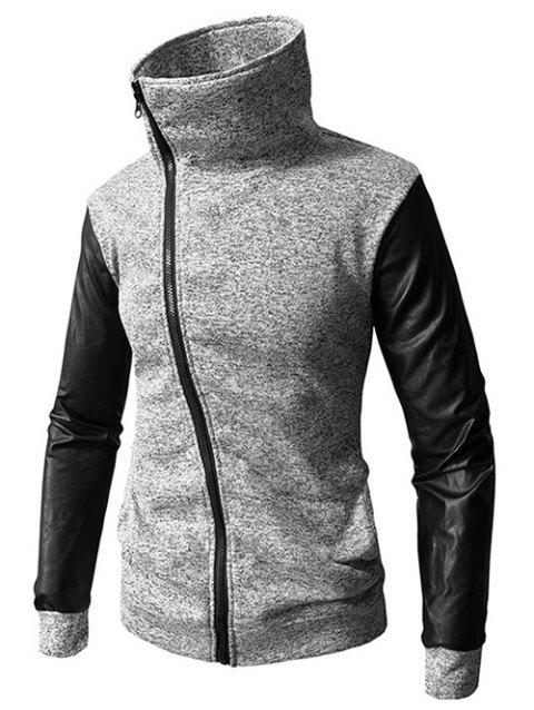 Zip Up PU Leather Panel Coat - LIGHT GRAY 2XL