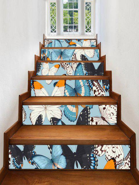 Autocollants d'Escalier Décoratifs Motif Papillons - multicolor 6PCS:39*7 INCH( NO FRAME )