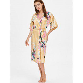 Flower Printing Sleeping Robe with Belt - CORN YELLOW M