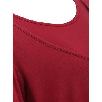 Long Sleeve Solid Color Maternity Sleep Top - RED WINE L