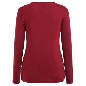 Long Sleeve Solid Color Maternity Sleep Top - RED WINE XL