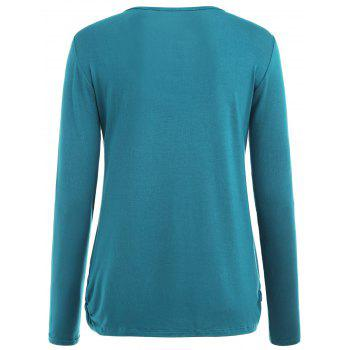 Long Sleeve Solid Color Maternity Sleep Top - GLACIAL BLUE ICE S