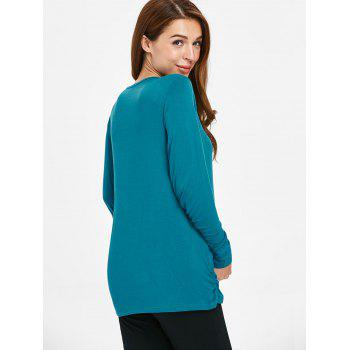 Long Sleeve Solid Color Maternity Sleep Top - GLACIAL BLUE ICE L