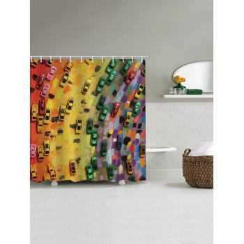 Colorful Cars Print Waterproof Shower Curtain - multicolor W71 INCH * L71 INCH