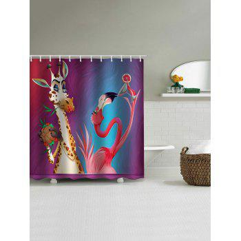 Deer and Flamingo Print Waterproof Shower Curtain - multicolor W65 INCH * L71 INCH