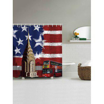 American Flag Bus Print Waterproof Shower Curtain - multicolor W71 INCH * L71 INCH