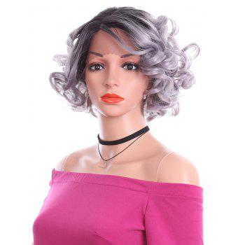 Short Side Parting Curly Lace Front Heat Resistant Synthetic Wig - PLATINUM 10INCH