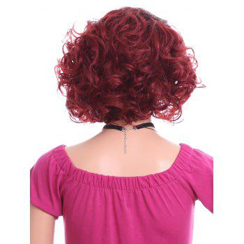 Short Side Parting Curly Lace Front Heat Resistant Synthetic Wig - RED WINE 10INCH