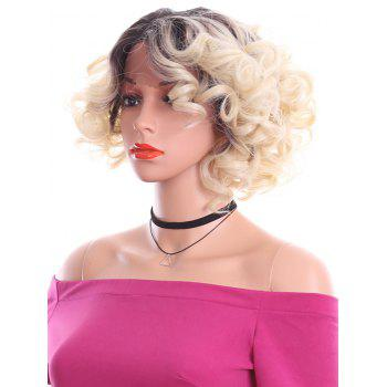 Short Side Parting Curly Lace Front Heat Resistant Synthetic Wig - CORNSILK 10INCH